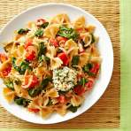 Summer Vegetable Pasta with Crispy Goat Cheese Medallions Recipe