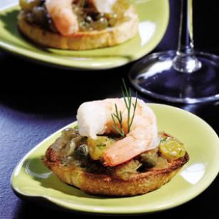 Caramelized Onion & Shrimp Bruschetta
