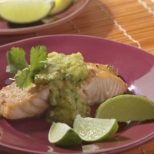 Salmon with Roasted Chile-Mango Sauce Recipe