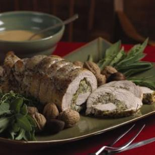 Spiral Stuffed Turkey Breast with Cider Gravy Recipe