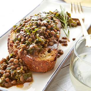 Rosemary Lentils &amp Greens on Toasted Bread