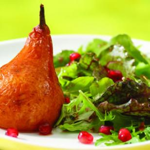 Roasted Pear &amp;amp; Arugula Salad with Pomegranate-Chipotle Vinaigrette Recipe