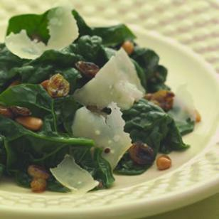 Sauteed Spinach with Pine Nuts & Golden Raisins Recipe
