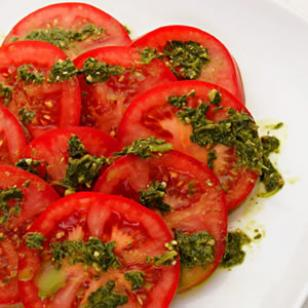 Sliced Tomatoes with Pesto Drizzle Recipe