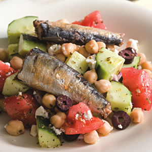 Greek Salad with Sardines for Two